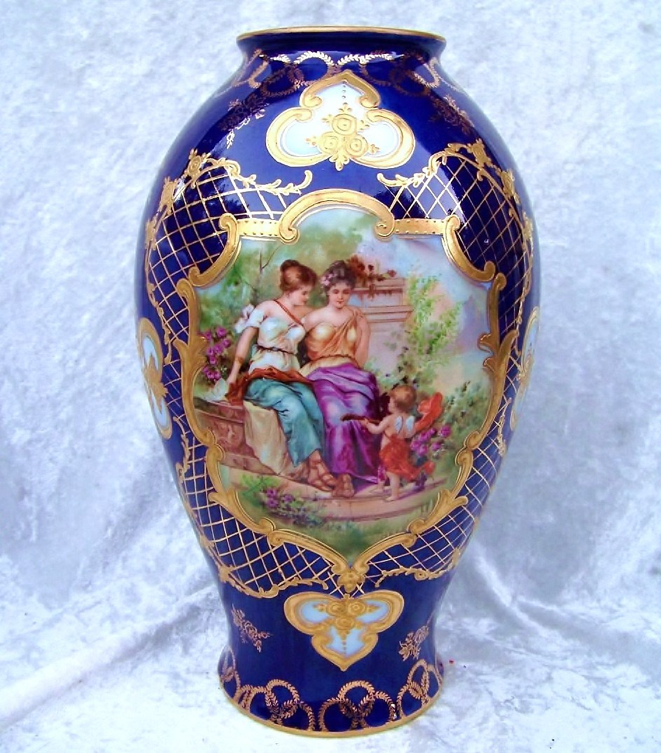 "Outstanding RS Prussia [ES Germany] Scenic Portrait ""2 Victorian Woman & Cherub"" Heavy Gilded Gold & Cobalt 10-3/4"" Vase"