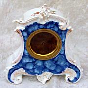 """Superb RS Prussia 1900 Ornate Floral & Cobalt Blue Vintage 6-1/2"""" Floral German Clock"""