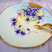 "Outstanding Bavaria 1905 Hand Painted ""Violets"" 7-1/2"" Nappy by Pickard Artist, ""Roy"""