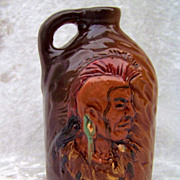 "Scarce Rick Wisecarver 1993 High Relief ""Mohawk Warrior"" 4-1/2"" Minature Whiskey Jug Signed ""Rick W."""
