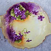 """Gorgeous Bavaria 1900's Hand Painted """"Violets"""" 6-7/8"""" Scallop Bon-Bon Dish"""