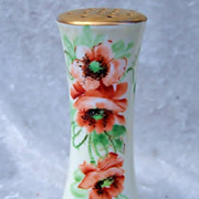 "Beautiful Bavaria 1900's Hand Painted ""Burnt Orange Poppy"" 5-1/4"" Sugar Shaker by Pickard Artist ""Minnie Luken"""