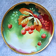 "Exceptional GDA France Limoges & Chicago Decorator; J.H. Stouffer 1905 Hand Painted ""Strawberry"" 8-1/2"" Plate by the Listed  Chicago Decorator,  ""A. Piron"""