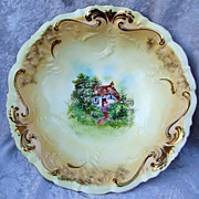 "Attractive RS Prussia 1900's Ornate ""Cottage Scene"" 10-3/4"" Bowl"