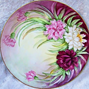 "Beautiful Selb Bavaria 1920's Hand Painted ""Red, Pink, & White Zinnia"" 9"" Plate"