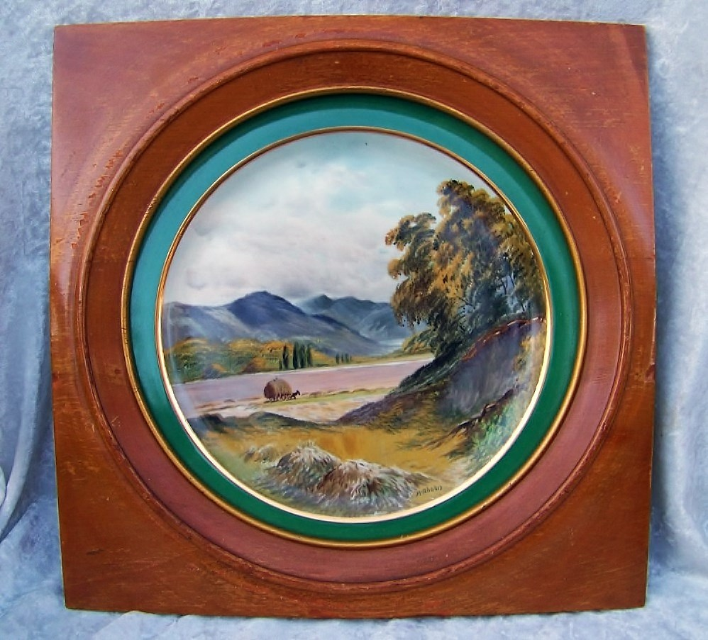 "Beautiful 1930's J.H. Stouffer Studio of Chicago Hand Painted ""Farm  Scene"" 11"" Plate in Fancy Wood Frame by Listed Studio Artist, ""Arnold Rhodes"""
