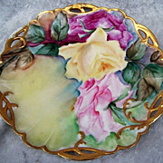 "Gorgeous Haviland France 1900's Hand Painted Vibrant ""Deep Red, Pink & Yellow Roses"" 8-1/2"" Fancy Heavily Gilded Cut Out Decor Plate"
