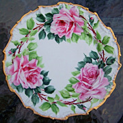"Attractive Limoges France 1900's Hand Painted ""Pink Roses"" 10"" Fancy Scallop Plate"
