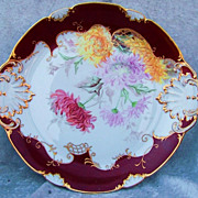 "Gorgeous Vintage Pre-1900 CFH GDM Limoges France Hand Painted ""Large Red, Pink & Yellow Mums"" 14-1/4"" Chop Plate by the Artist, ""F.H.E."""