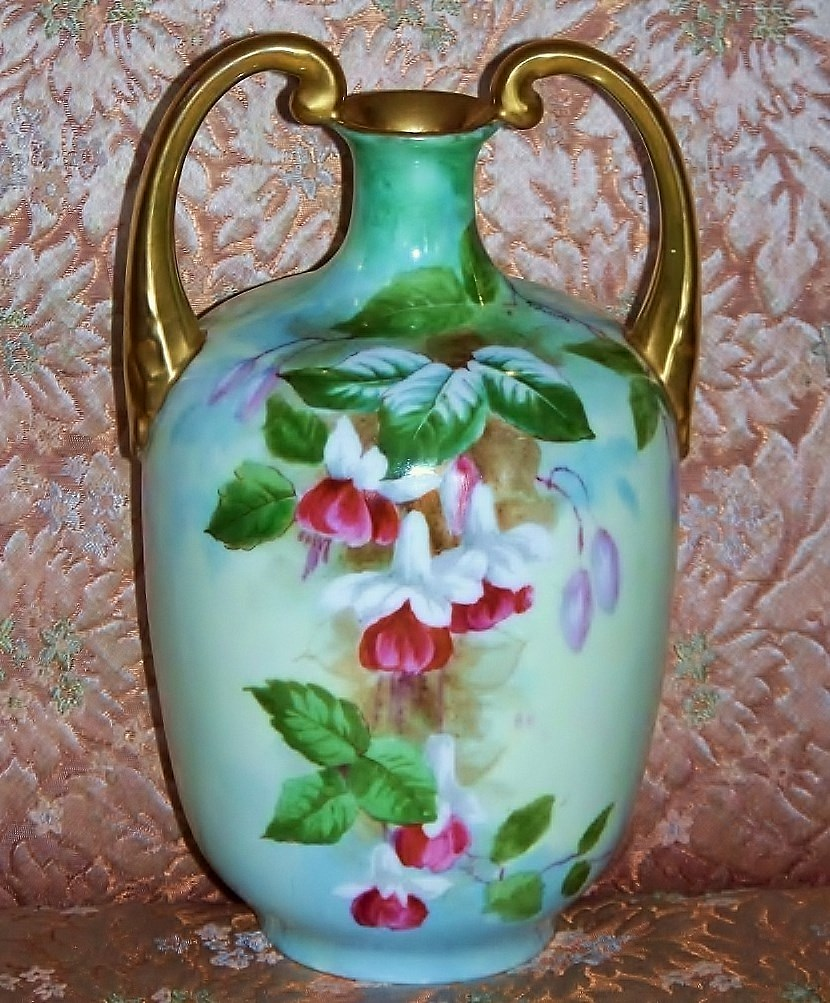 "Beautiful Vintage Vienna Austria 1900's Hand Painted ""Fuscha Flowers"" 9-7/8"" Muscle Vase by the Artist, ""V. Forsyth"""