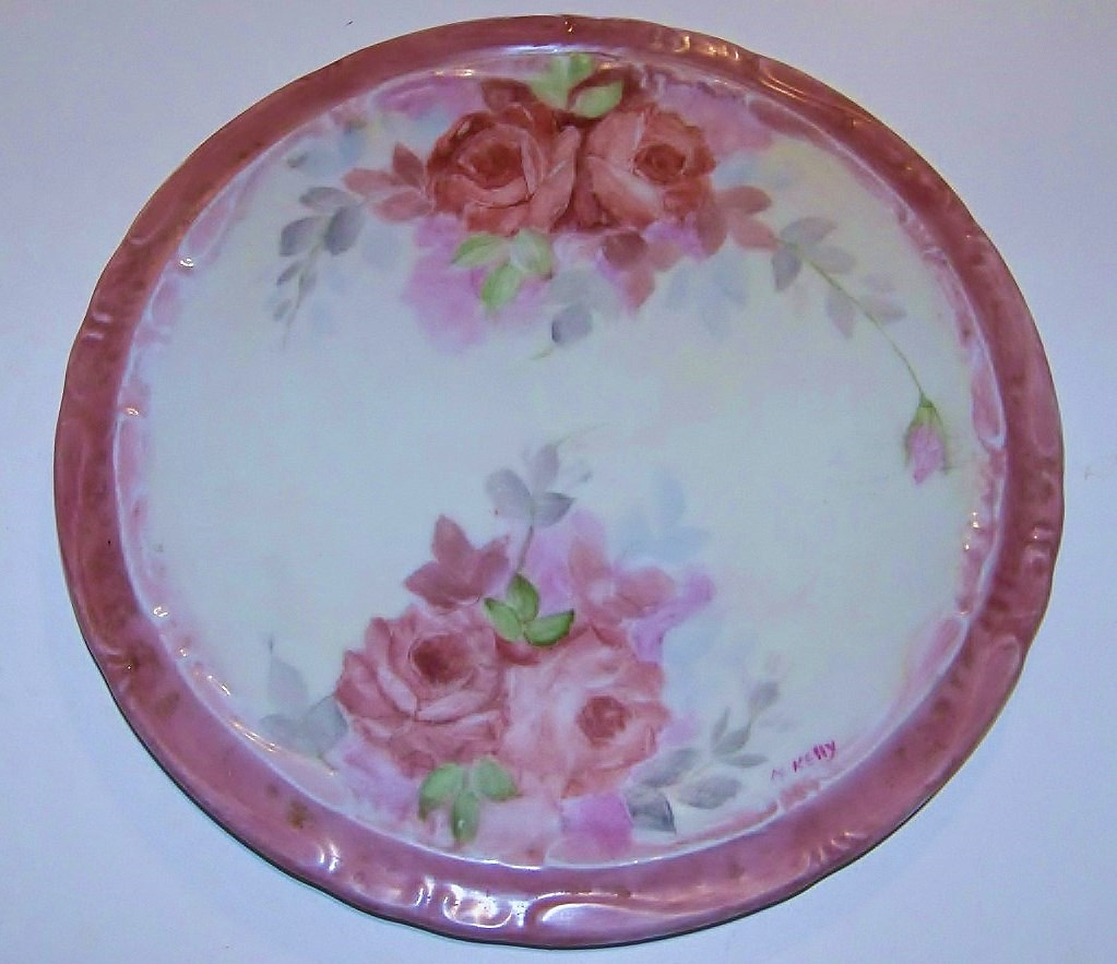 "Attractive Bavaria Hand Painted ""Red Roses"" 7-3/4"" Trivet by the Artist, ""M.Kelly"""