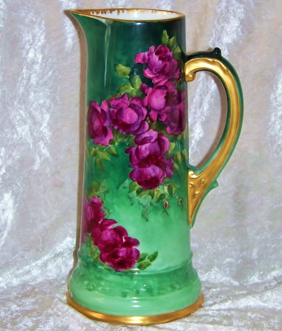 "Spectacular T & V Limoges France Hand Painted Vibrant & Lifelike ""Deep Red Roses"" 11"" Tankard"