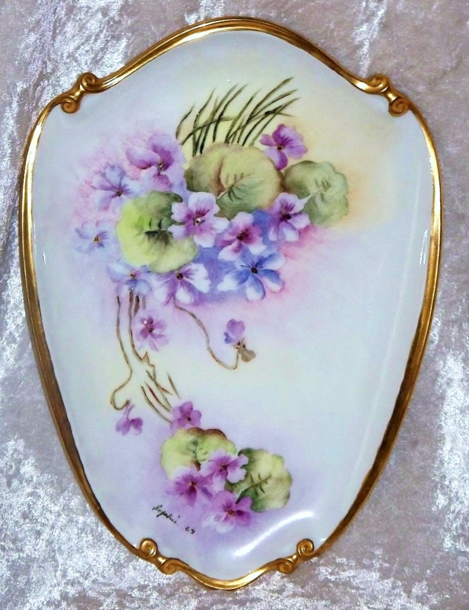 """Outstanding Bavaria Hand Painted """"Violets"""" 10-1/4"""" x 7-1/2"""" Plaque by the Artist, """"Sophie"""""""