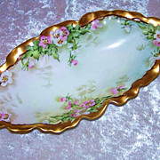 "Fancy & Attractive O.E. & G. Royal Austria Hand Painted Scallop ""Petite Pink & White Rose"" 10"" Tray by the Artist, ""H. Schlesinger"""