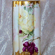 """Spectacular D &C France Limoges 1900's Hand Painted """"Red, Pink & Yellow Roses"""" 12-3/8"""" Ornate Four Panel & Four Footed Heavy Gilded Vase"""