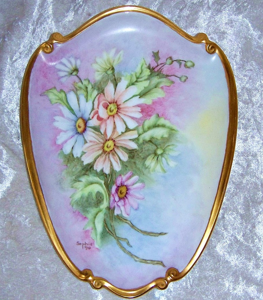 "Gorgeous Bavaria Hand Painted ""Blue, Pink, & Peach Daisies"" 10-1/4"" x 7-1/2"" Plaque by the Artist, ""Sophie"""
