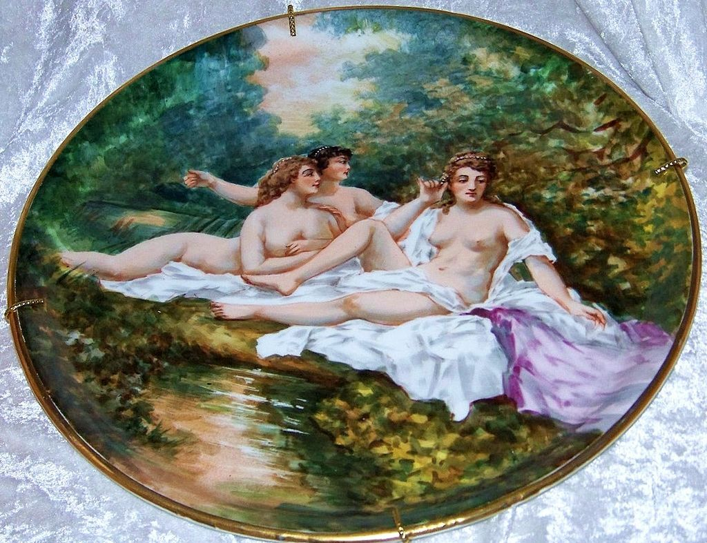 "Museum Quality 1900's Limoges France Hand Painted ""Three Nudes Bathing"" 13"" Plaque by the Renowned & Listed Artist, ""Dubois"""