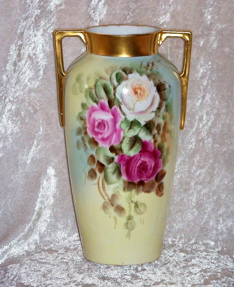 "Beautiful H & Co. Selb Bavaria 1900's Hand Painted ""Red, Pink, & White Roses"" 9-7/8"" by the Artist, ""Brenneman"""