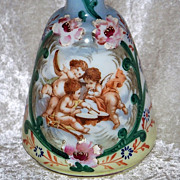 "Gorgeous Antique Bristol Glass 1900's Hand Painted ""Three Frolicking Cherubs"" 7-1/2"" Victorian Barber Bottle"