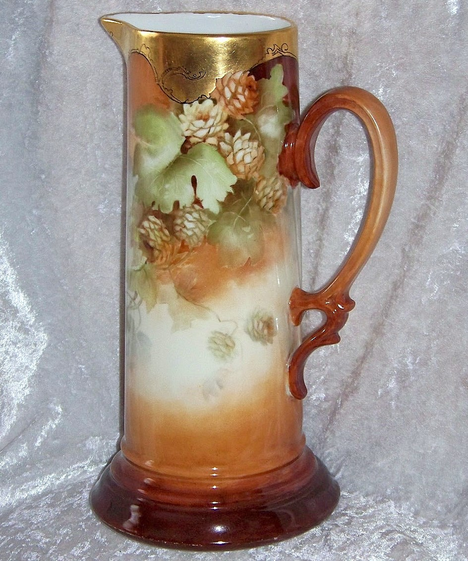 "Beautiful Bavaria 1900's Hand Painted ""Hops Bud"" Beer Tankard by the Artist, ""H. Sibbald"""
