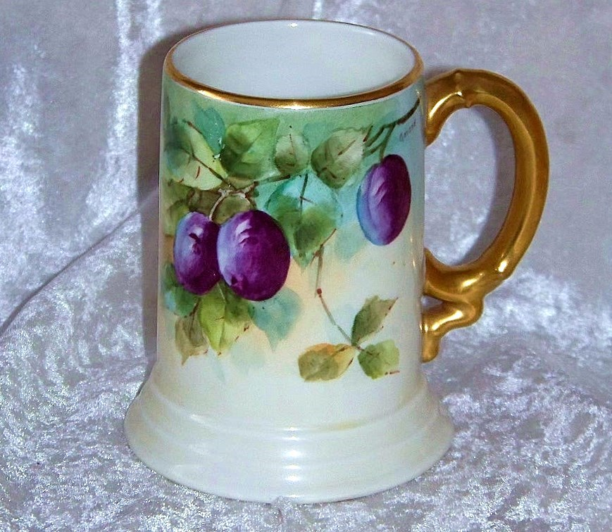 "Gorgeous J.P.L. France Limoges 1913 Hand Painted ""Plums"" Tankard Stein by the Listed Artist, ""Gerard"""