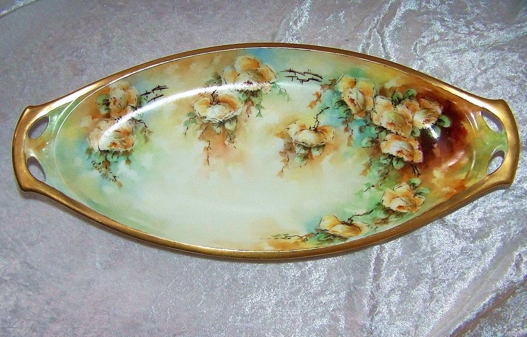 "Beautiful 1920's Germany Hand Painted ""Yellow Roses"" 13-1/8"" Tray by the Artist, ""Clara Meyer"""