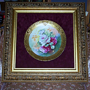 "Incredible Blake & Henderson Limoges France 1900's Hand Painted Vibrant ""Red & White Roses"" 12-5/8"" Heavy Gilded Charger in 25"" x 25"" Ornate & Fancy Carved Double Frame"