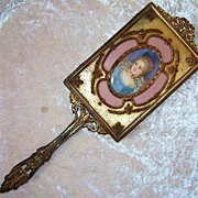 "Gorgeous 1900's Limoges Hand Painted ""Portrait of A Lady"" 13-1/2"" Beveled Glass Hand Mirror"