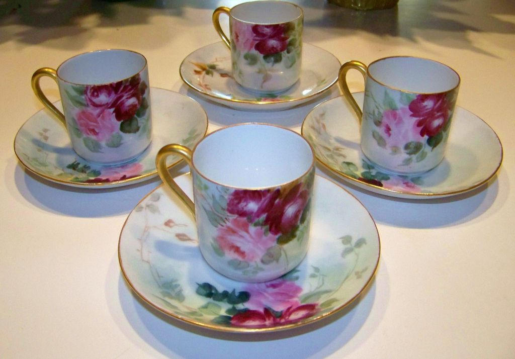 "Attractive Limoges Matched Set of 4 HP Deep ""Red & Pink Roses"" Cups/Saucers"