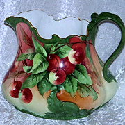 "Exceptional T & V Limoges France 1900's Hand Painted Vibrant ""Cherries"" 7-3/8"" Cider Pitcher - Red Tag Sale Item"