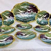 """Spectacular Vintage 1900 Limoges France Hand Painted """"Sea Birds"""" 11 Pc Rococo Decor Game Set From An Old Kentucky Estate"""