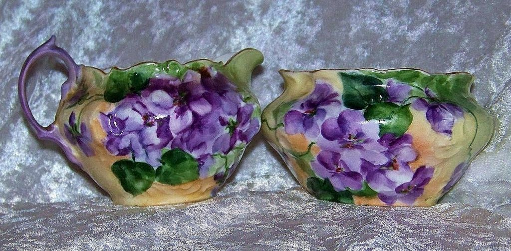 "Attractive Germany 1900's Hand Painted Vibrant ""Violets"" Sugar & Creamer"