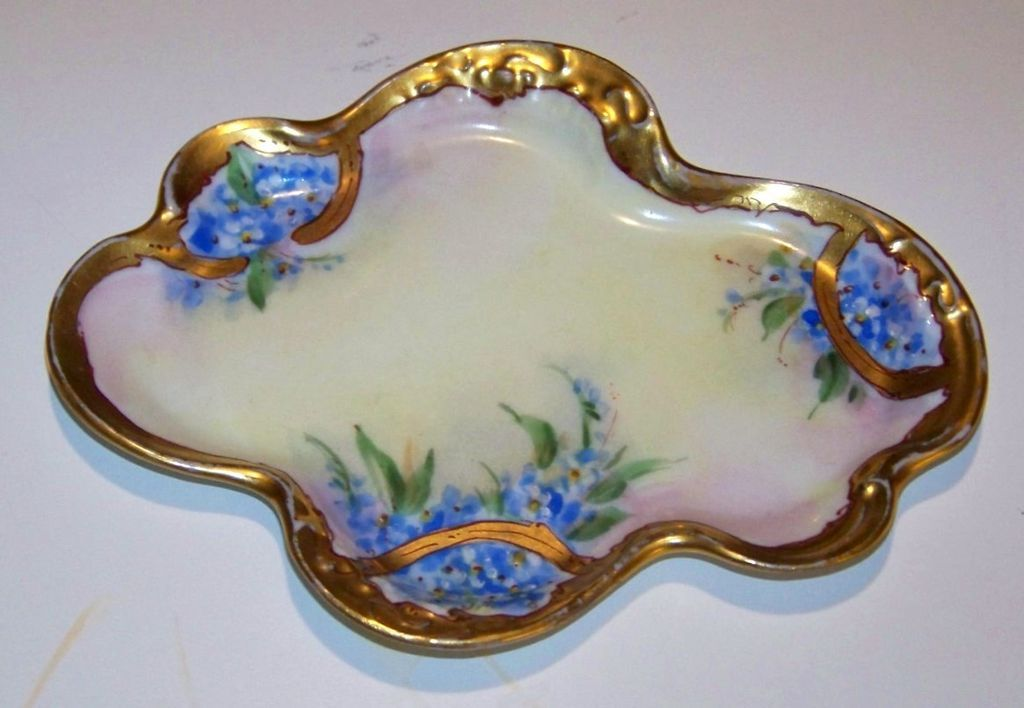 "Wonderful Vintage 1900's J.P.L. France Limoges & Pickard Studio of Chicago Hand Painted ""Forget Me Not"" Floral Pin Tray"