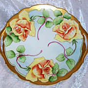 """Outstanding Bavaria 1910 Hand Painted """"Deep Yellow Roses"""" 11-1/4"""" Open Handle Plate by the Listed Artist, """"William Wands"""""""
