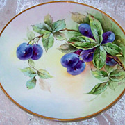 "Outstanding Thomas Bavaria 1910 Hand Painted ""Purple Plums"" 9-1/4"" Plate by the Listed Chicago Artist, ""Helga Mae Peterson"""