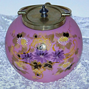 """Outstanding Mt. Washington Glass 1900 Hand Painted Enamel Pink Lavender """"Daisies"""" 5-1/2"""" Floral Cracker Jar With Silver Plated Collar"""