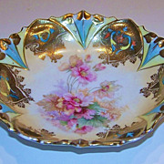 "Exquisite & Heavy Gold RS Prussia 1900 ""Wild Flowers"" Berry Bowl"