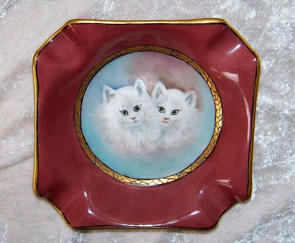 "Gorgeous Bavaria 1900's Hand Painted ""Two White Kittens"" Ash Tray by the Artist, ""S.L. Schaad"""