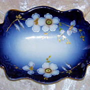 "Gorgeous Limoges France 1900's Hand Painted ""White Flowers"" 7"" Cobalt Blue Tray"