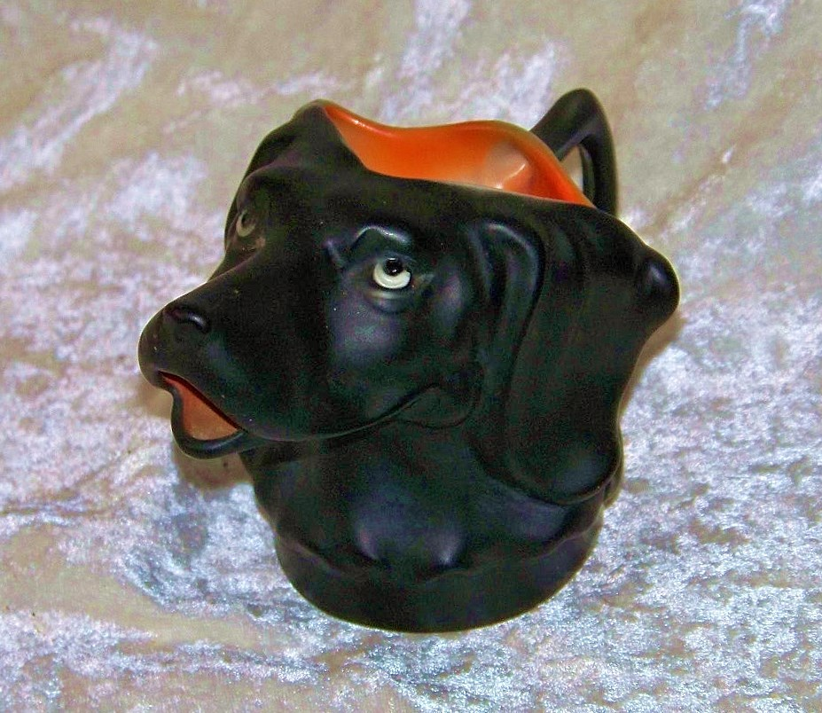 "Outstanding Royal Bayreuth 1900's Hand Painted ""Black Labrador"" 5-1/2"" Long Creamer"