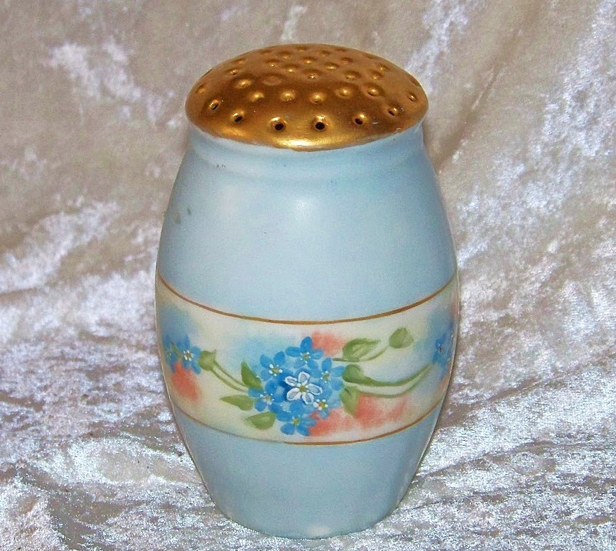 "Attractive Bavaria 1900's Hand Painted ""Forget Me Not"" Sugar Shaker by the Early Chicago Artist, ""Pool"""