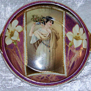 "Scarce RS Prussia 1900's ""Portrait of A Victorian Woman With Flowers"" 6-1/2"" Handle Tray"