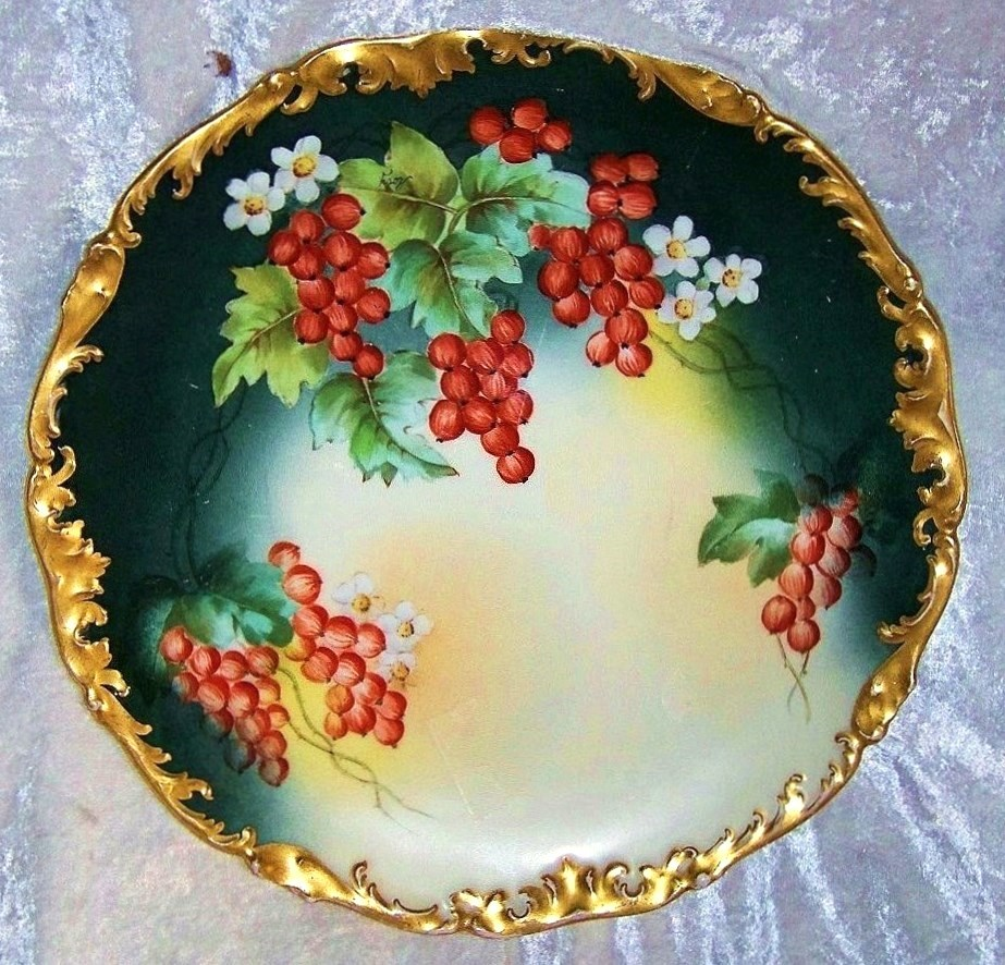 "Exquisite T & V Limoges France 1900's Hand Painted Vibrant ""Red Currant"" 12-3/4"" Rococo Style Charger by the Listed Artist, ""Roby"""