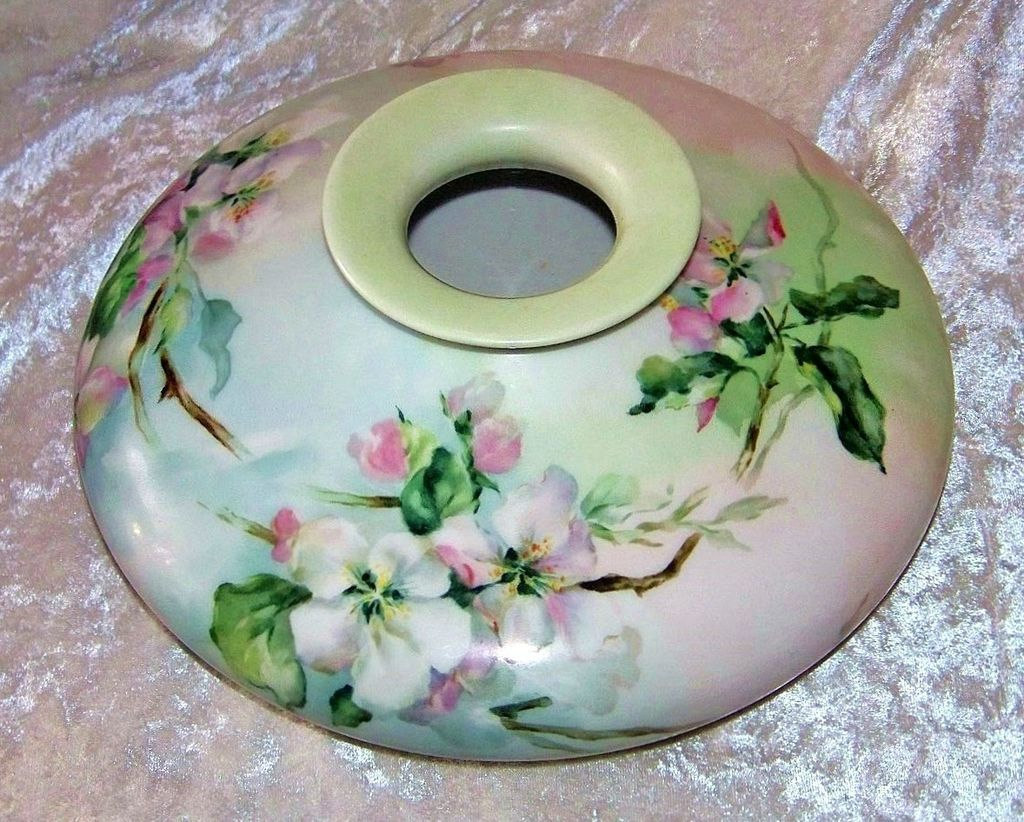 "Outstanding Vintage 1900's Limoges France ""White Crab Apple Blossom"" 10"" Squatty Vase by the Artist, ""D.G.K."""