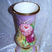 "Spectacular & Large 1930--40's Bavaria Hand Painted Vibrant ""Red,Pink, & Yellow Mums & Lily of the Valley"" Pedesatal Vase by the Artist, ""Robertson"" - Red Tag Sale Item"
