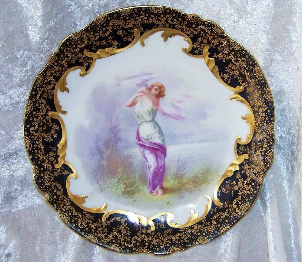 "Incredible Vintage Limoges France 1900's Hand Painted Scenic Portrait of A Lady 9-1/2"" Heavy Gold & Cobalt Blue Plate, by the Listed Artist, ""E. Furland"""