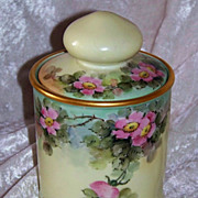 "Gorgeous Bavaria Vintage 1900's Hand Painted ""Wild Pink Roses"" 6-3/4"" Tobacco Humidor"