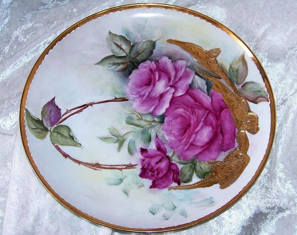 "Fabulous Bavaria Hand Painted Vibrant ""Red Roses"" 10-1/2"" Plate by the Artist, ""H.Cooper"""