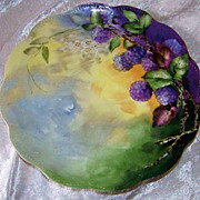 "Beautiful Haviland France 1900's Hand Painted Vibrant ""Blackberry"" 8-3/4"" Plate by the Artist, ""Grace"""
