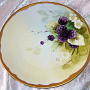 "Beautiful Bavaria 1900's Hand Painted ""Blackberry"" 7-5/8"" Plate by Pickard Artist, ""H.Tolley"""